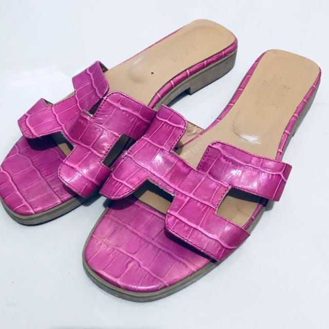 Hermes Oran Sandals Fuschia Alligator Slippers