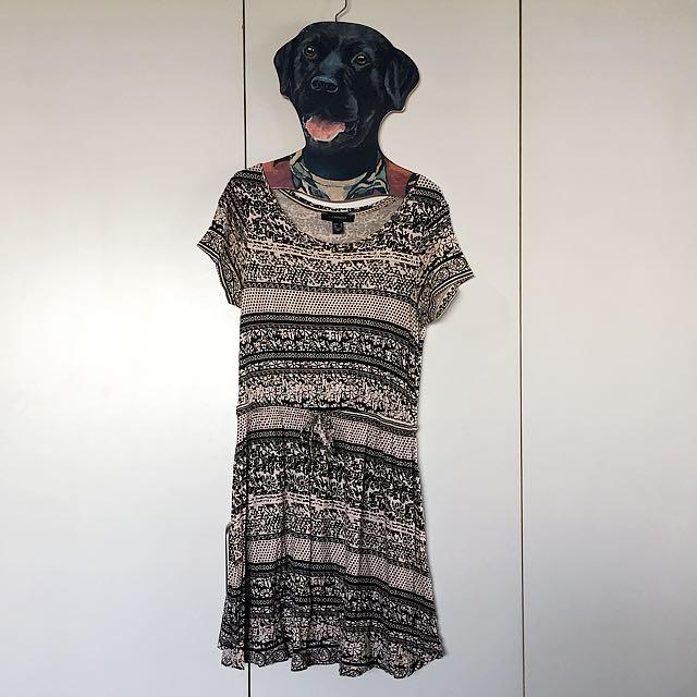 Light Pink/Black Printed Dress