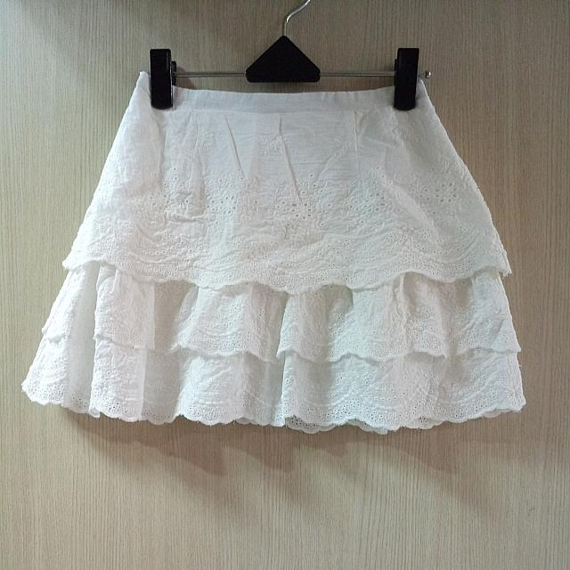 Lovfee百摺雕花布蕾絲多層千層鬆緊/短裙