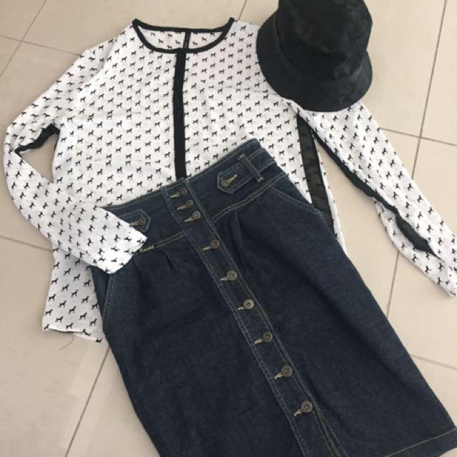 Mango blouse (dogs) - Bardot Denim Skirt