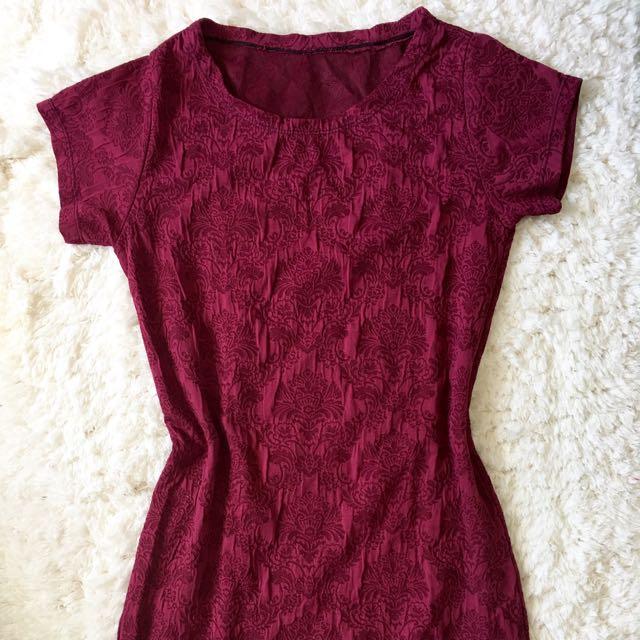 Maroon Textured Dress