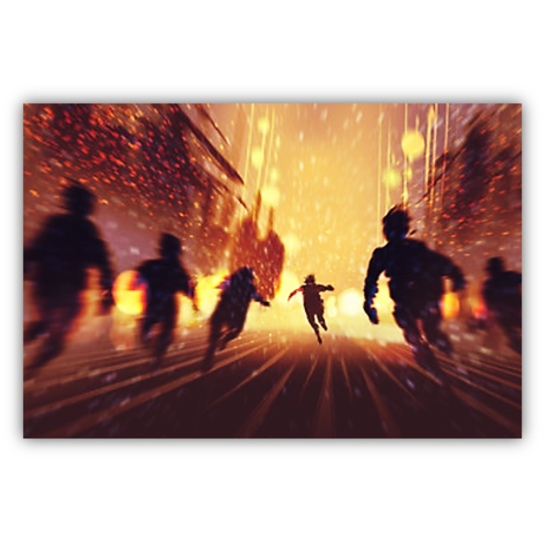 Men Running Away With Burning City in Background, Canvas Print Wall ...
