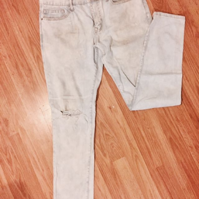 (Men's) Light Denim Acid-Wash Ripped Skinny Jeans