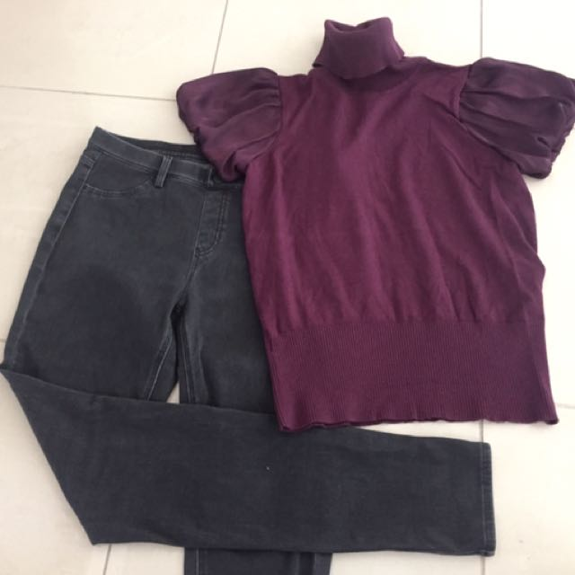 MNG turtle neck top - Uniqlo leggings