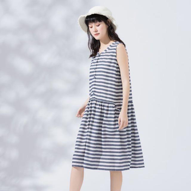 *轉賣Mo-bo*前開釦寬鬆條紋棉質洋裝(藍白條)