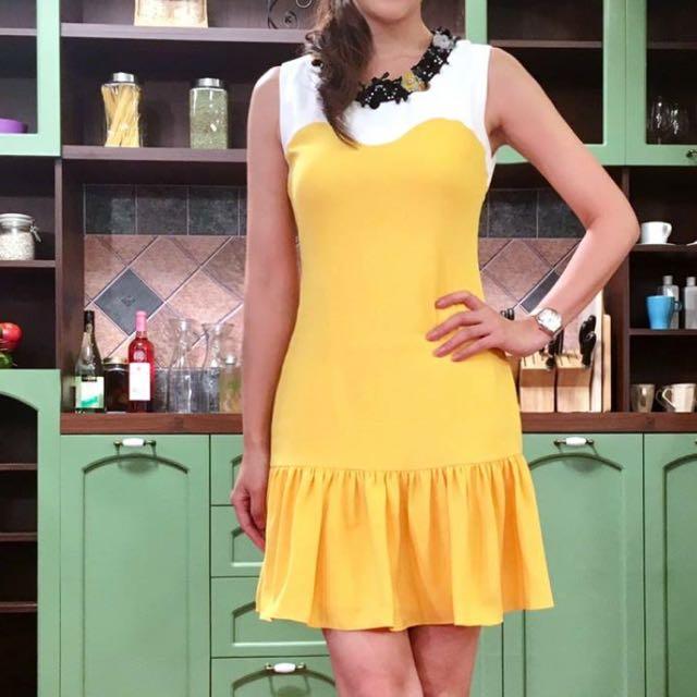 (價錢含運)Moma黃色桃心領洋裝