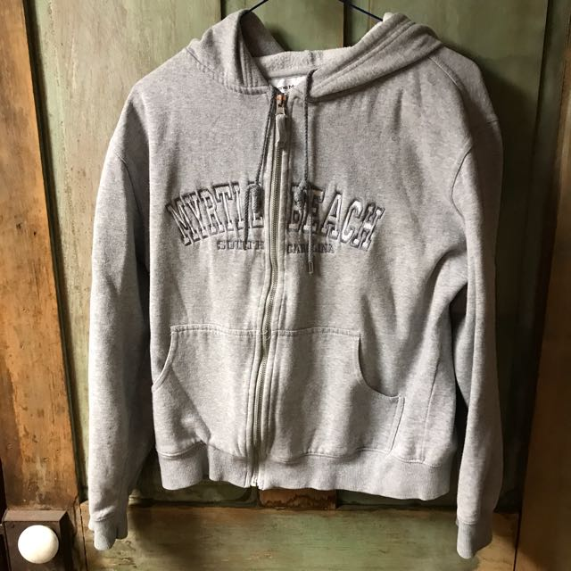 Myrtle beach zip up grey hoodie