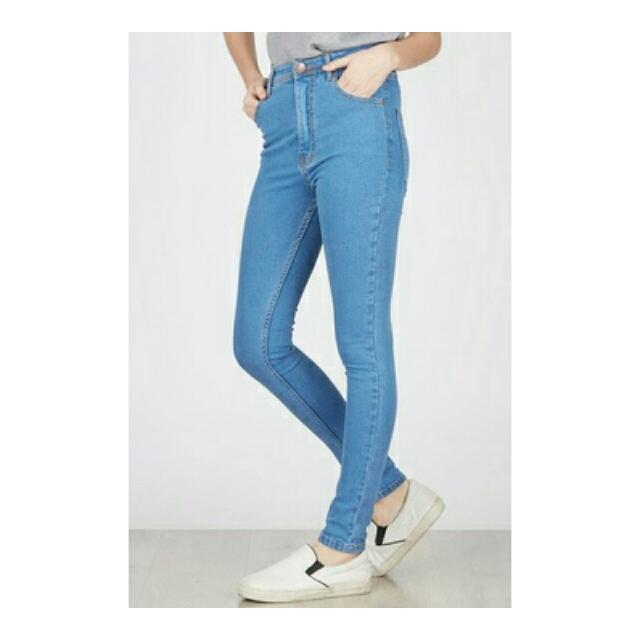 Naara Highwaist Skinny Jeans Pocket in Light Blue MKY Clothing
