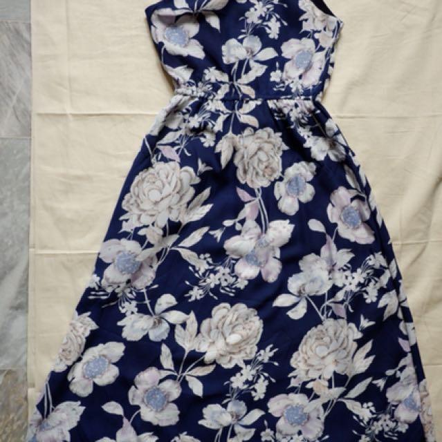 Navy Blue Floral Halter Dress