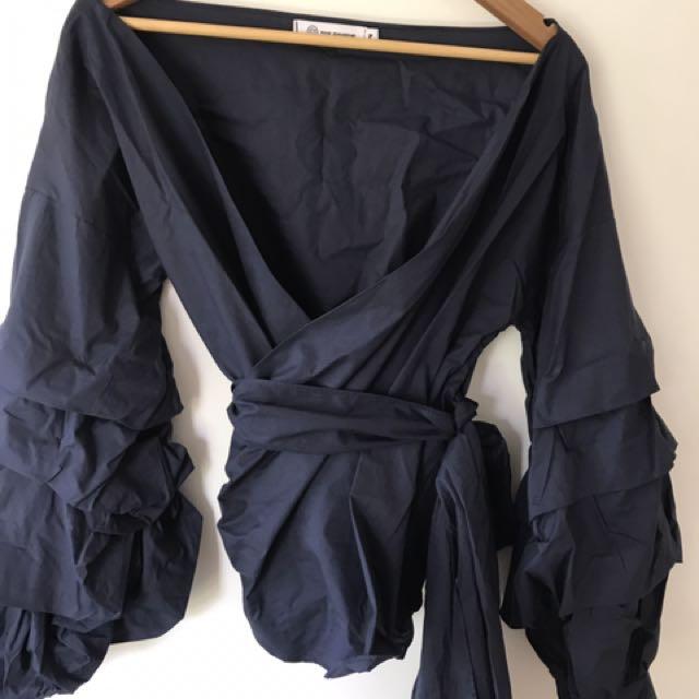 Navy wrap shirt