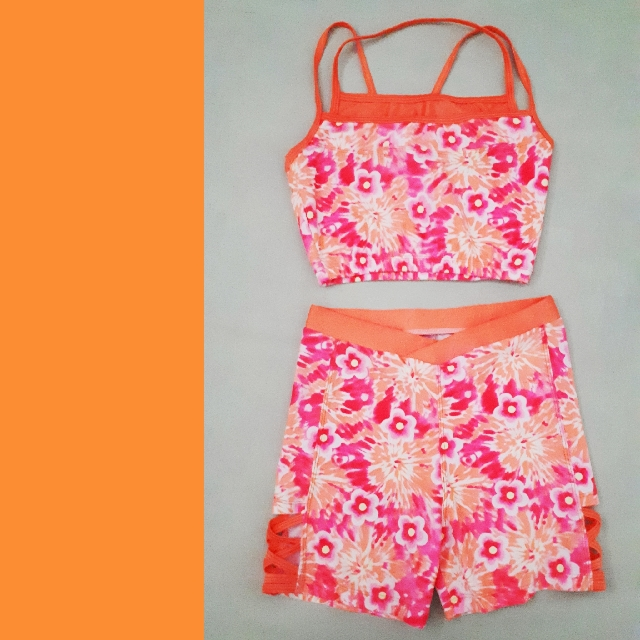 Orange Floral Swimwear