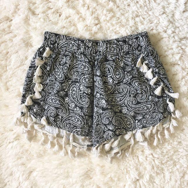 Paisley Pompom Shorts