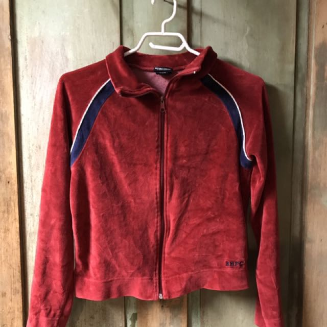 Polo red zip up sweater (size small)
