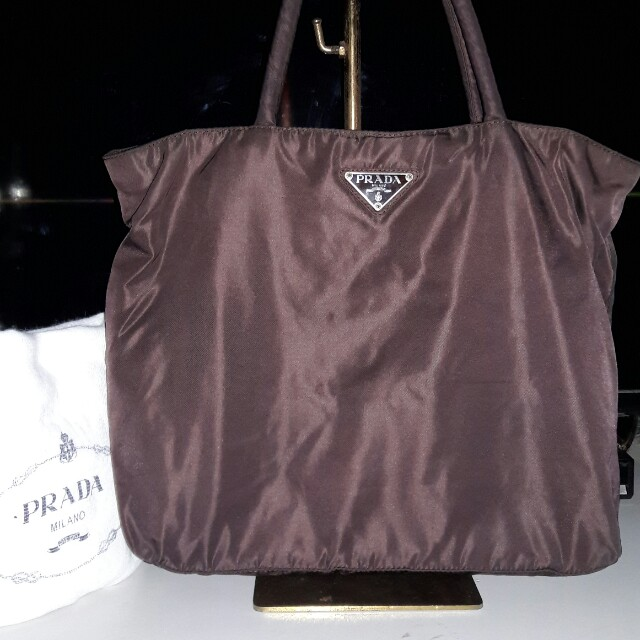 76764c06de Prada nylon tote bag chocolate brown