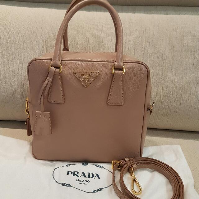 d774570884 Prada Saffiano Lux Bauletto Leather Sling Bag Crossbody