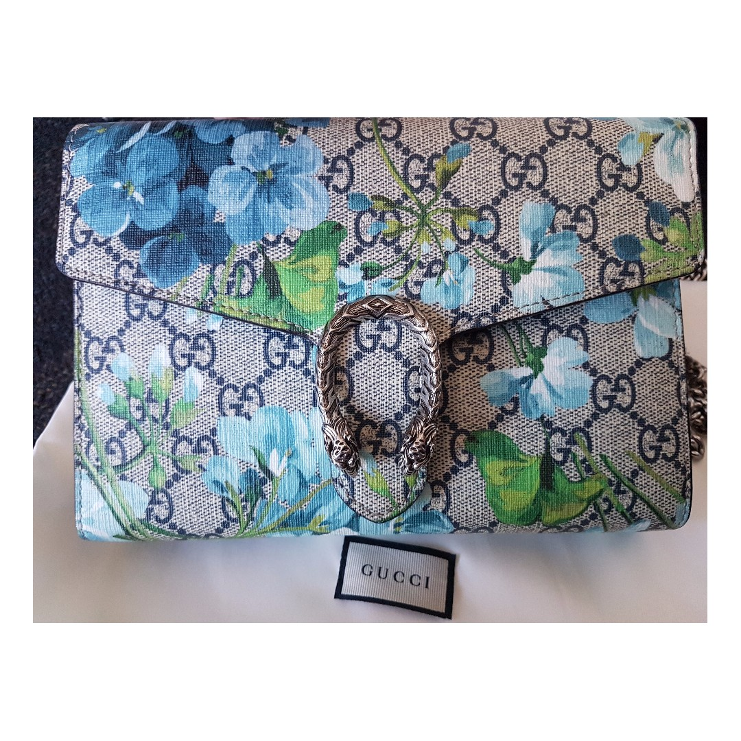 PRICE REDUCED!  Gucci Blue Blooms Mini Chain Bag (RRP: $1435)