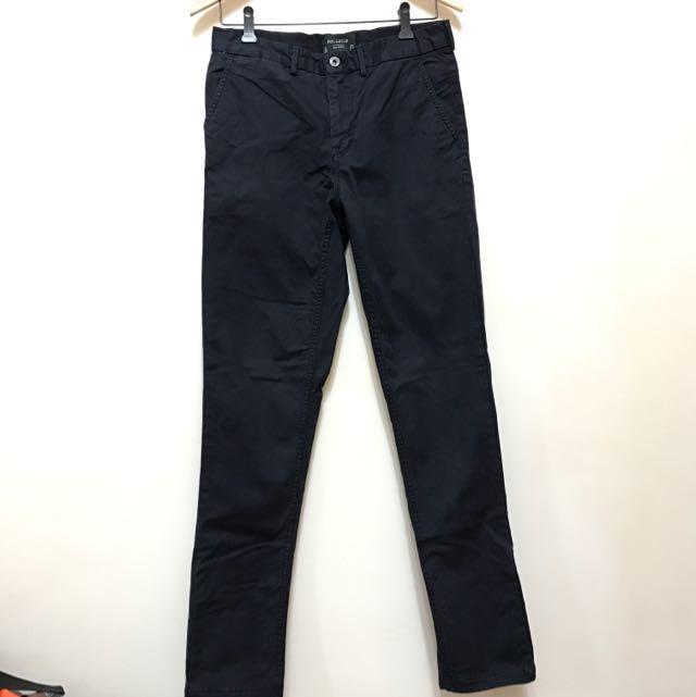 Pull&Bear 合身剪裁深藍色工作褲長褲