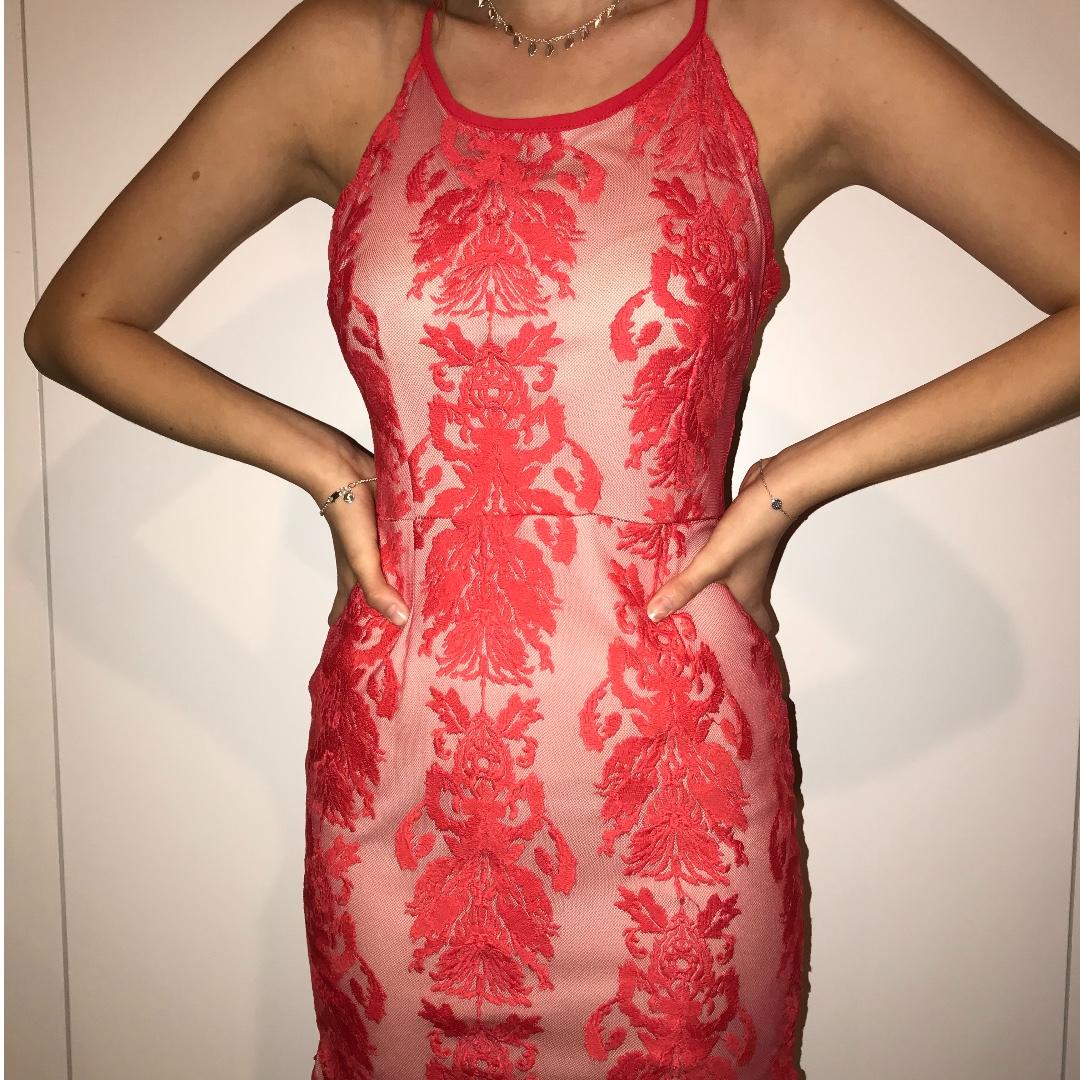Red Lace Cross Back Dress