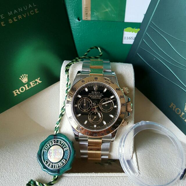 2313ddbeb Rolex Daytona 2 Tone Half Gold Black Dial, Luxury, Watches on Carousell