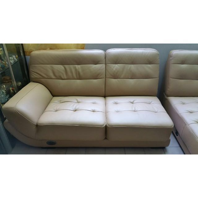 Seahorse HECOM L shaped Leather Sofa (2 piece!), Home & Furniture, Furniture, Sofas on Carousell