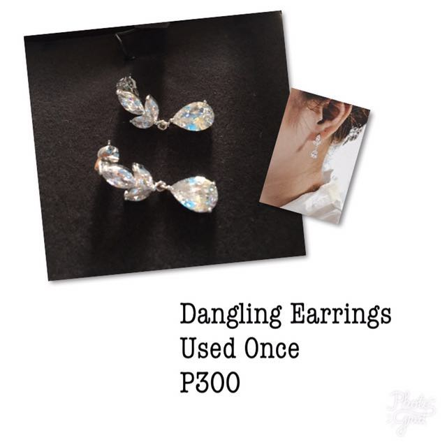 Silver Dangling Earrings with Stones