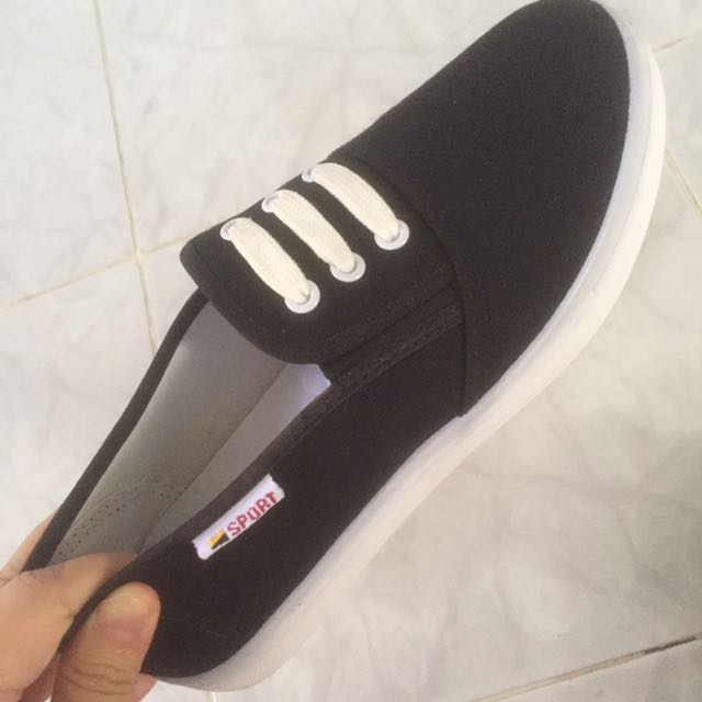 SPORTY BLACK AND WHITE PLATFORM SHOES