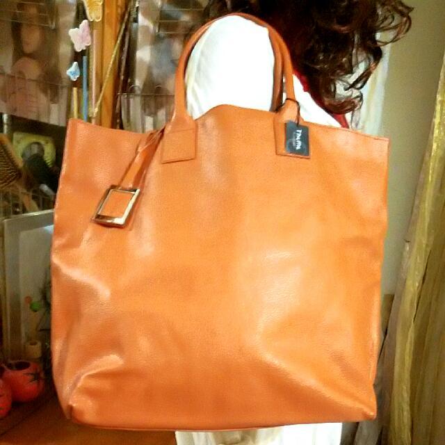 Theme 橘褐色 真皮大拖特包 💥特價
