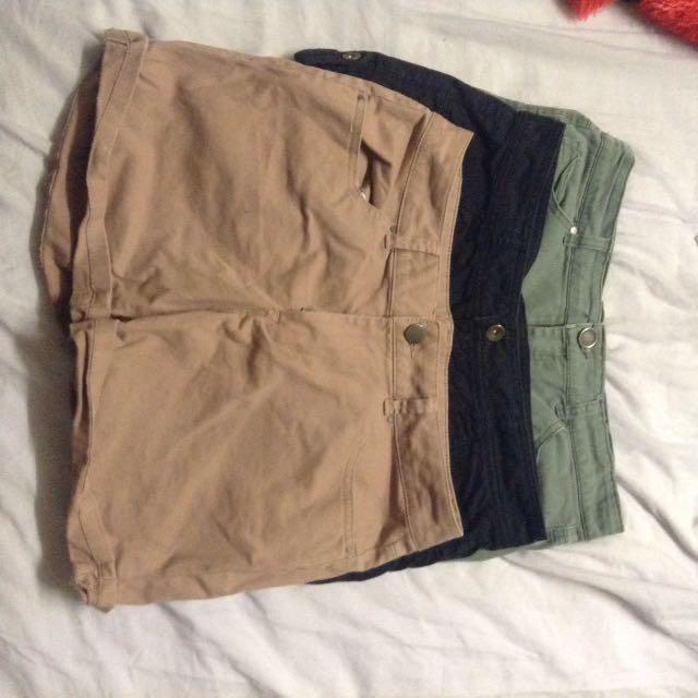 Three Pairs of Short shorts
