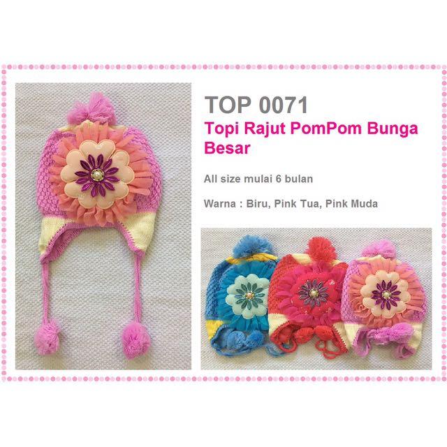 Topi Rajut Bayi 6-24 bulan Bunga Besar, Babies & Kids, Girls' Apparel on Carousell