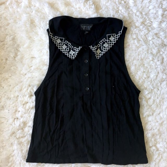 Topshop Embroidered Collared Top