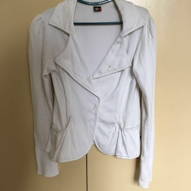 White BNY Cotton Blazer