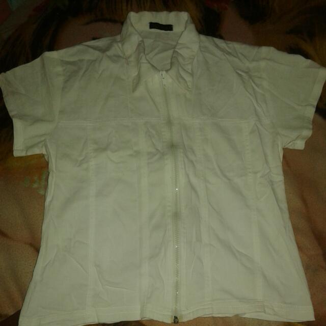 White Zipper Polo (Option Fashion)