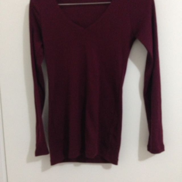 Wine Red Long Sleeve Top