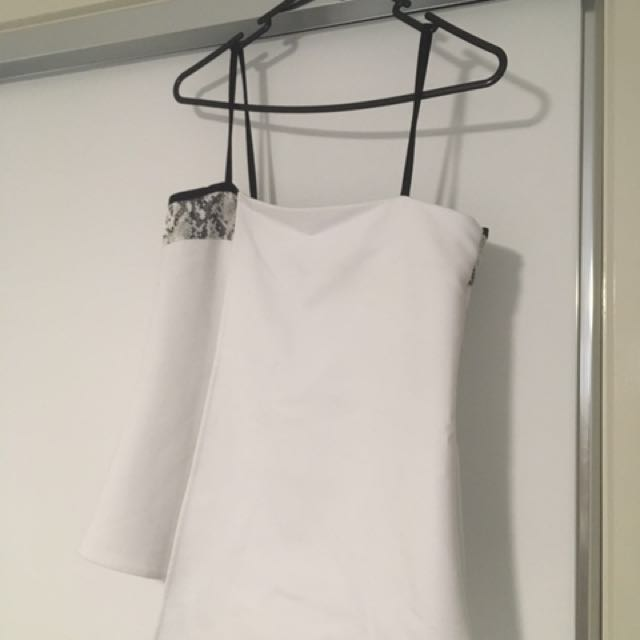 Witchery White And Snakeskin Thin Strapped Top