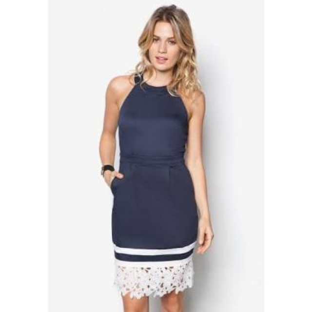 Zalora Lace Hem Tulip Dress Blue