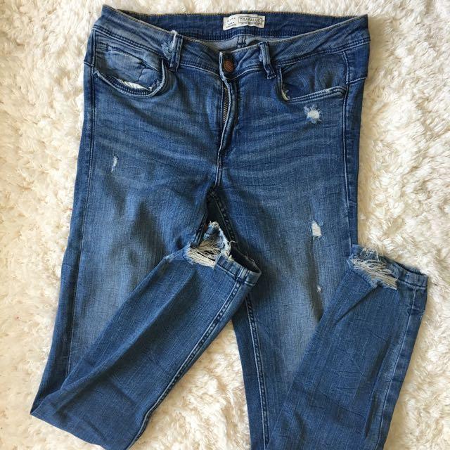 Zara Low-waist Ripped Jeans