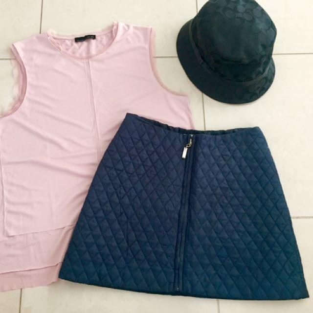 Zara top - DKNY Navy skirt