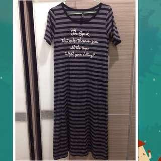 🌺(全新)條紋長版孕婦裝 睡衣 洋裝