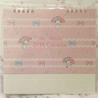 Sanrio My Melody 2018 desktop calendar scheduler planner