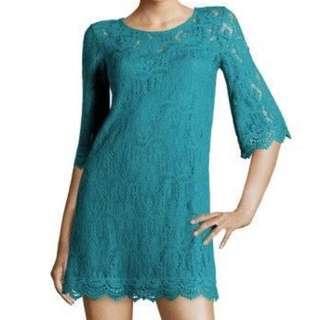 Lacy Teal Mini-dress