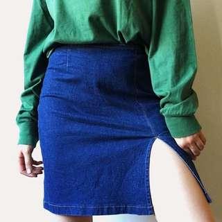 High Slit Denim Skirt