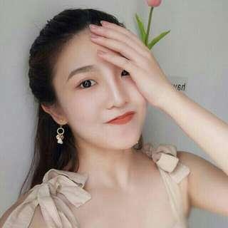 💟日系時尚簡約氣質風格不對稱設計流蘇女用百搭耳環耳夾耳飾品耳釘 R497  💟粉紅香草💟