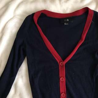 XXI • Navy blue x red cardigan