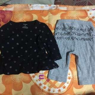 6-9 Months Carters Baby girl's Long sleeve w/ gray polka dot and pajama