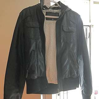 Shearling Leather Hooded Jacket size L