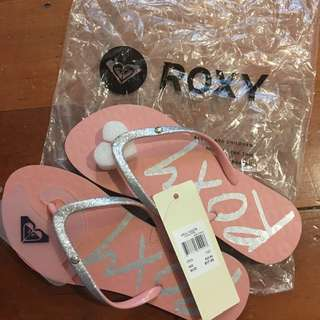 Roxy jandals - pink and glitter