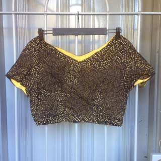 Vintage Yellow Black Crop