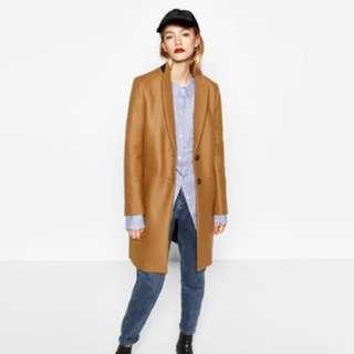 ZARA Camel Masculine Coat size xs