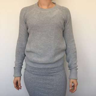 Grey Knit Cardigan - Size S