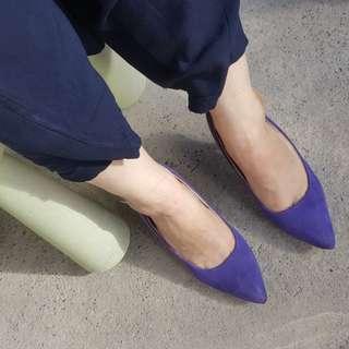 Vegan suede purple velvet purple heels
